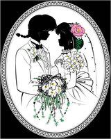 R1/2 - Ranma and Akane wedding silhouette portrait by JustLynnWeav