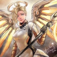 Mercy (Overwatch) - Colored Digital Doodle by snsmargery