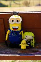 Despicable Me Minion + CC + Cheese Kun Amigurumi by Sushumo