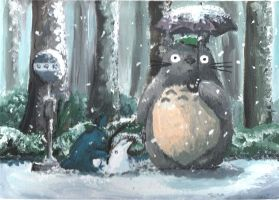 Totoro - Busstop by Iristhen