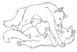 Free Wolf Love Lineart by Tesseri-Shira