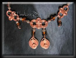 copper wire necklace closer by Fawkesgirl