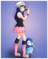 Hikari and Piplup - Pokemon by Xeylen