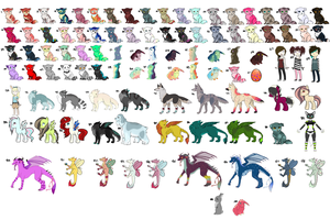 100Adoptables!! [OPEN TO PUBLIC!] [Open!] by Xecax