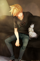 + Roxas and his cat named Riku + by taka-maple
