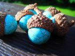 Turquoise Acorns by MaryBunnie