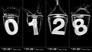 Splash Black Clock FULL SCREEN (HOT) by jimking