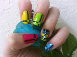 Neon Tribal Nail Art by MissDaniLips