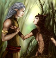 Elf and Cat by RiMary