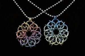Hand Anodized Titanium Celtic Stars by Ichi-Black