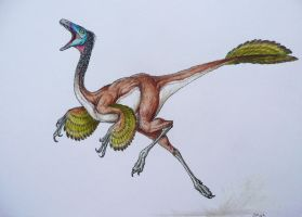 Feathered Dinosaur 2 by WanderingAlbatross