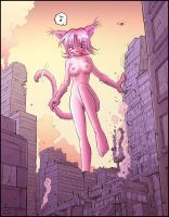 Catgirl giantess by Karbo