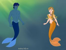 Francoeur and Saffron as merpeople by heart8822