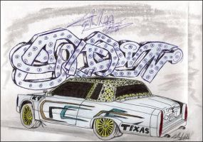 lowrider car with sta-town by k9-productions