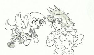 Derpy and sora trying....something. by joelashimself