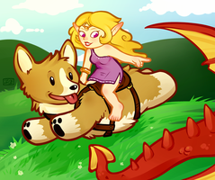 corgi steed! by oddsocket