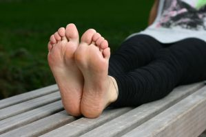 Lea stretching her soft soles by foot-portrait