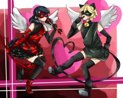 V-day 12: ladybug and chat noir cupid by 3mo-Art