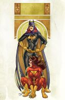 Batgirl and Spider-Woman by sdowner