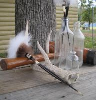 Fur and Quill Hairstick - Coyote and Beaver by TarpanBeadworks