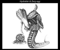 Hydralisk and Zerg egg by highdarktemplar