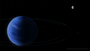 Neptune with rings and moons by SpaceDog500