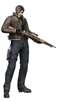 Leon w/ Rifle RE4 - Professional Render by Allan-Valentine