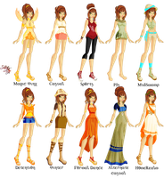 Oneida Season 1 outfits set(completed) by Laddy-of-Fire