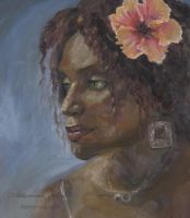 Portrait in Oil-Hibiscus by Abbyanna