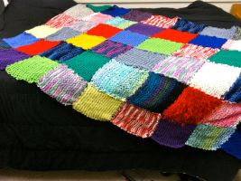 Knitted Patchwork Blanket by knagl