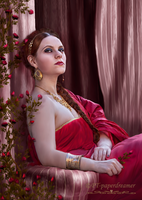 Lady In Red Portrait by PaperDreamerArt