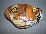 Lion and Tiger Painted Rock by Duchess-of-Dismal