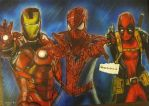 Marvel - 'Team Red' drawing/painting by MelieseReidMusic