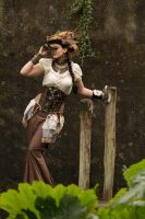 Stock - Steampunk woman looking glass by S-T-A-R-gazer