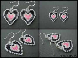 Seed Bead Partial Heart Container Earrings by Pixelosis