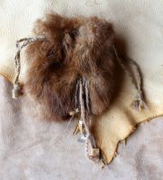 Decorated vintage mink fur pouch by lupagreenwolf