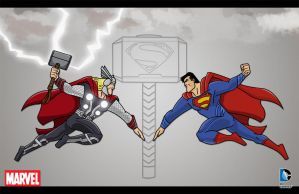 Thor vs Superman by momarkey
