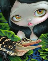 Mermaid with a Baby Alligator by jasminetoad