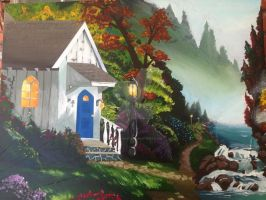 church in a forest by HikaruHrist