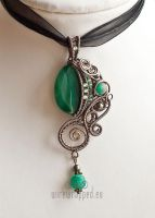 Emerald green fantasy pendant by ukapala