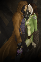 Gambit + Rogue COLOR by kyriadalyn