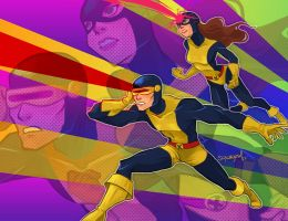 cyclops and marvel girl by squeegool