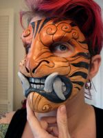 Striped demon mask by missmonster