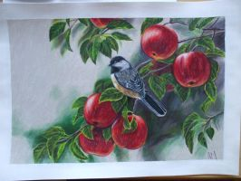 chickadee and apple tree by SusHi182