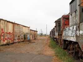Abandoned Boxcars and Engines by Azraphale