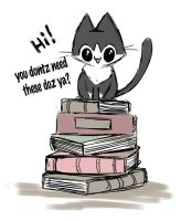 stupid shit my cat does: book sitting by michellescribbles