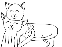 cute cat mates lineart* by biggywoot