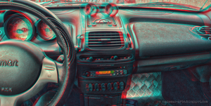 Inside the roadster (3D anaglyph red/cyan) by nadamas