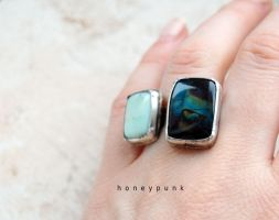 Ring silver sterling with 2 stone by honeypunk