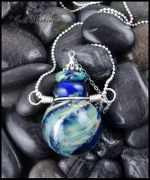 Galactic - Lampwork Glass Bottle Pendant by andromeda